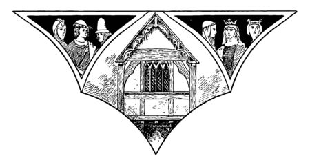 Fourteenth Century Gabled House, Weobly, Herefordshire,  the windows and ornamentation moulds along the roof, vintage line drawing or engraving illustration. Ilustracja