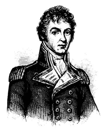 Sir Philip Bowes Vere Broke 1776 to 1841 he was a distinguished officer in the British royal navy vintage line drawing or engraving illustration Çizim