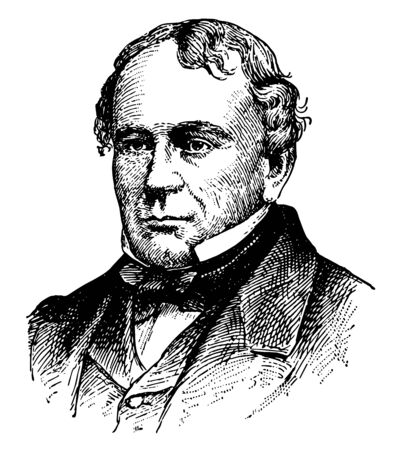 Francis Lieber 1800 to 1872 he was a German to American jurist gymnast and political philosopher vintage line drawing or engraving illustration  イラスト・ベクター素材