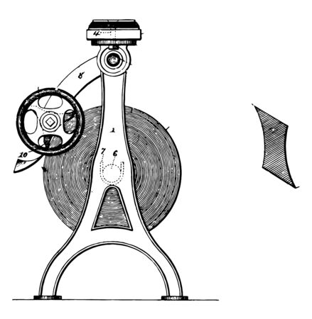 This illustration represents Paper Holder and Cutter vintage line drawing or engraving illustration.