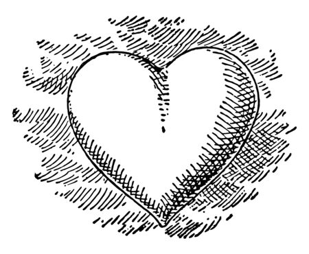 This is a symbol of love which is called as heart. The wounded heart indicating love sickness came to be depicted as a heart symbol vintage line drawing or engraving illustration. Ilustração