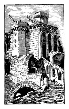 Temple for Sol Invictus The ruins of the temple Aurelian built for Sol Invictus was the official sun god of the later Roman Empire a patron of soldiers vintage line drawing or engraving illustration. Ilustrace