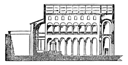 St. Agnes Basilica itÂ's a Section of Basilica faces onto the Piazza Navona a site sloping down from the Via Nomentana vintage line drawing or engraving illustration.