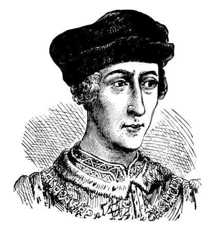 Henry V of England,  1386-1422, he was the king of England from 1413 to 1422 and the second English monarch who came from the House of Lancaster, vintage line drawing or engraving illustration Ilustração