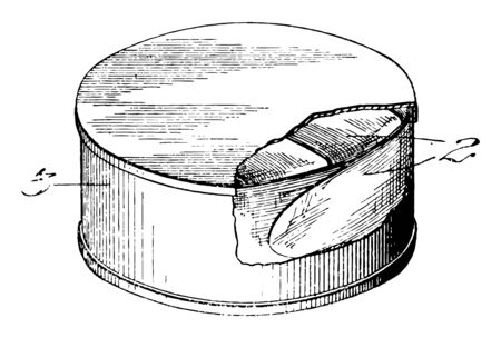 Can Lining is a container made of thin metal used in storage of food, vintage line drawing or engraving illustration. Ilustração
