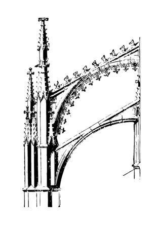 Flying Arches vertical load horizontal forces centre vintage line drawing or engraving illustration.