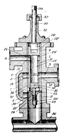 This illustration represents Rotary Valve which the rotation of a passage vintage line drawing or engraving illustration.