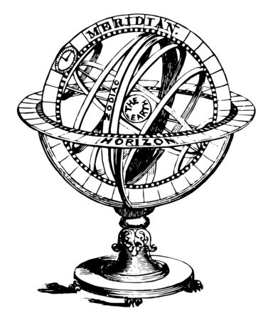 Armillary Sphere an arrangement of rings and all circles of a single sphere vintage line drawing or engraving illustration.