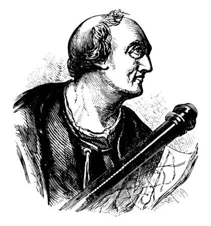Amerigo Vespucci 1454 to 1512 he was an Italian explorer financier navigator and cartographer vintage line drawing or engraving illustration