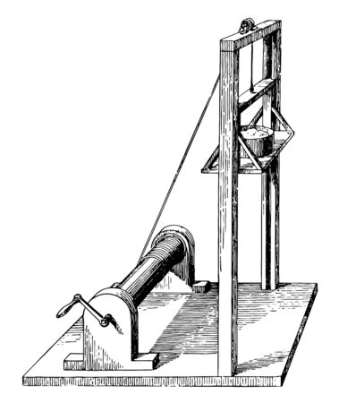 This illustration represents Brick and Mortar Elevator where small pulley used vintage line drawing or engraving illustration. Illustration