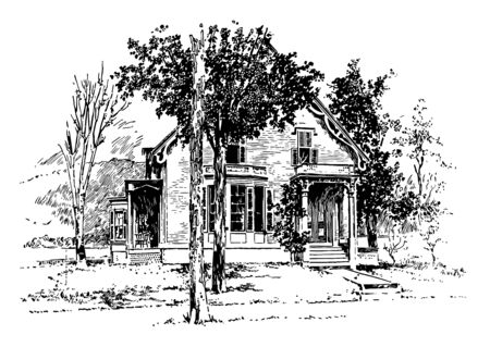 The picture shows the birthplace of Admiral Dewey. The house has many trees in the front yard out of these trees many are leafless vintage line drawing or engraving illustration. 일러스트