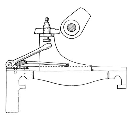 This illustration represents Cam Turning Attachment for Lathe, vintage line drawing or engraving illustration. 向量圖像