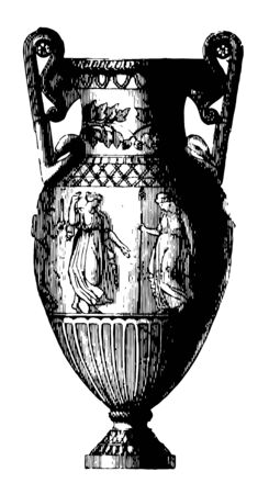 Amphora is a Grecian vase with two handles often seen on medals vintage line drawing or engraving illustration. 向量圖像