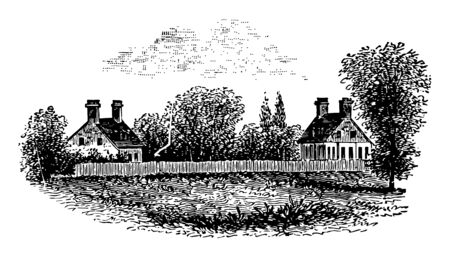 The image portrays the remains of Lord Dunmores Palace. Image shows the two separate homes which are surrounded by the picket fencing vintage line drawing or engraving illustration.