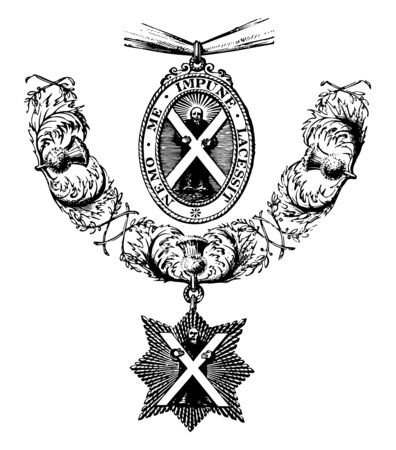 Insignia of the Order of the Thistle is formed of a figure of St. Andrew vintage line drawing or engraving illustration. Иллюстрация