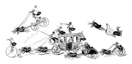 Flea Circus this scene shows group of fleas doing various activities in circus Some fleas are pulling a carriage with fleas inside some are riding bicycles some look like they are racing each other vintage line drawing or engraving illustration