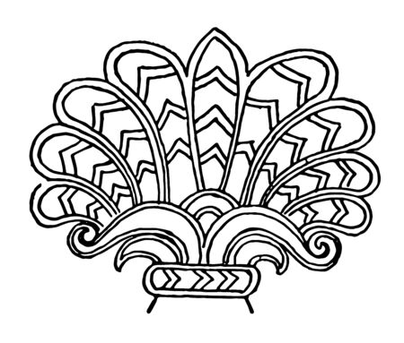 Assyrian Ornament is a Lotus to palamette motive vintage line drawing or engraving illustration.