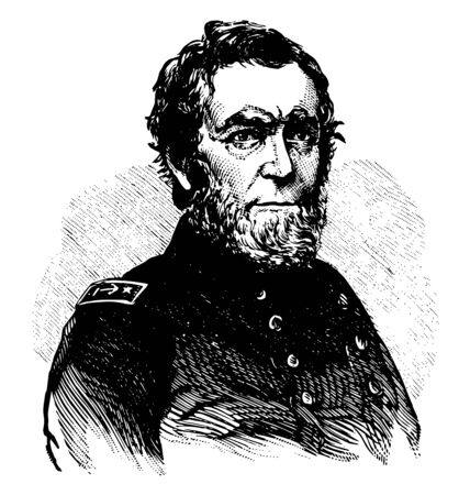 Andrew Hull Foote 1806 to 1863 he was an admiral in the United States navy who served during the civil war vintage line drawing or engraving illustration