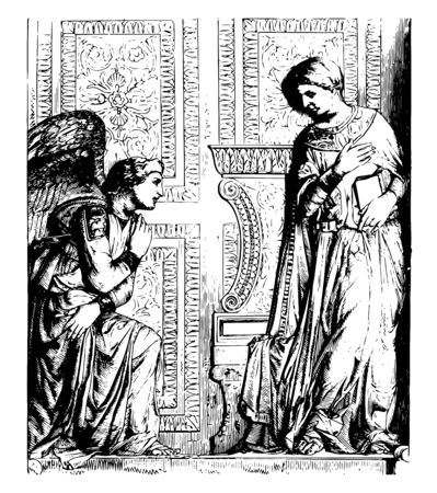 This sculpture by the great artist Donatello this scene shows an angel sitting on knee and a standing man holding book looking down at an angel vintage line drawing or engraving illustration Foto de archivo - 133084428