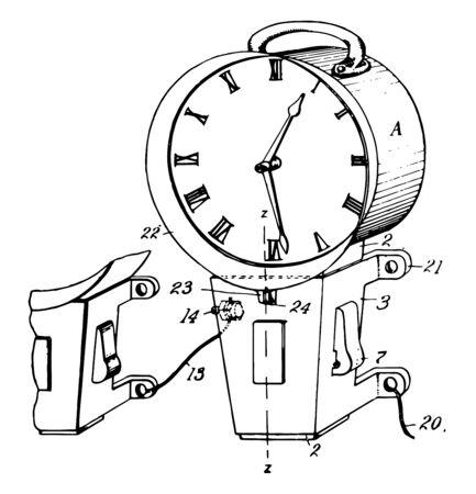 This illustration represents function of Secondary Electric Clock vintage line drawing or engraving illustration.
