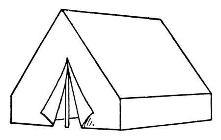 Its a stylish tent which are normally build by cloth & used in a big restaurant as cottage vintage line drawing or engraving illustration.