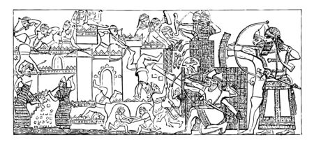 Nineveh is a Siege of a city it is from the Nimroud Palace vintage line drawing or engraving illustration.