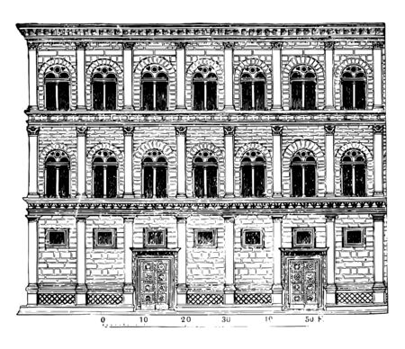Rucellai Palace creations of Alberti form a class apart Florentine palace architecture do not display the peculiarities of the Florentine style to a certain extent vintage line drawing or engraving illustration.