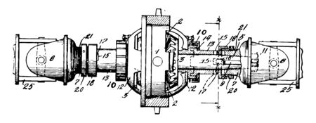 This illustration represents function of Gearing Differential vintage line drawing or engraving illustration.