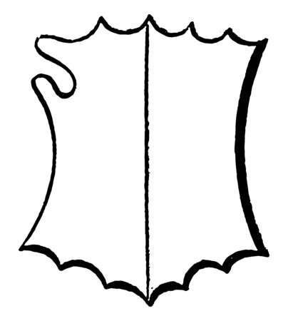 Spiked Bouche Shield is a heraldic with a per pale division vintage line drawing or engraving illustration.