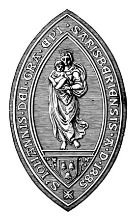 The seal of the Bishop of Salisbury there is an angel holding a small baby in her arms and three bells in the bottom vintage line drawing or engraving illustration