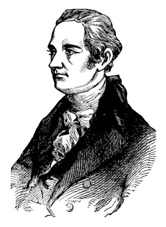Alexander Hamilton 175557 to 1804 he was an American statesman first United States secretary of the Treasury and one of the founding fathers of the United States vintage line drawing or engraving illustration Illustration