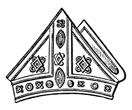 Mitre of Archbishop Cranley is an headdress vintage line drawing or engraving illustration.