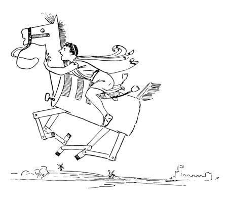 Reynard the Fox: Story of Cramparts Horse this scene shows a man riding on wooden horse and horse flying in the air vintage line drawing or engraving illustration