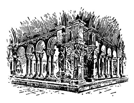 Cloister is walls of buildings and forming a quadrangle cloister to a cathedral or church having continuous and solid architectural barrier vintage line drawing or engraving illustration.