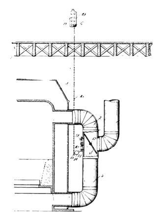 This illustration represents function of Furnace Damper vintage line drawing or engraving illustration.