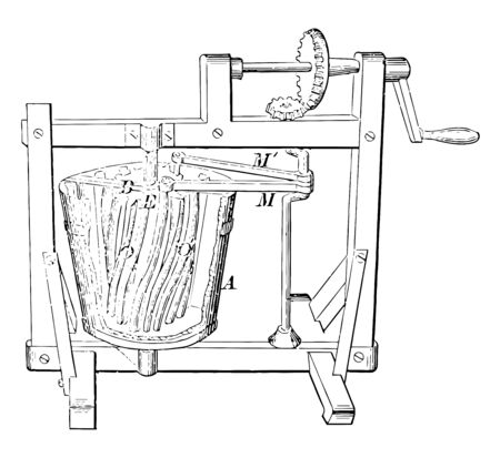 Early Washing Machine consisted of a drum washer hand cranked to turn the wooden drum vintage line drawing or engraving illustration.