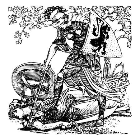 Fairy Queen es un poema épico inglés transportado por trenes de tropas durante la India restaurado como una exhibición en el dibujo de línea vintage o ilustración de grabado nacional.