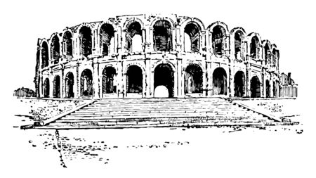 Amphitheater of Arles a Roman amphitheatre in the southern French town Roman amphitheatre is probably the most prominent tourist attraction vintage line drawing or engraving illustration.