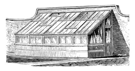 This illustration represents Lean to House which has top ventilation provided by sliding sashes vintage line drawing or engraving illustration. Фото со стока - 132816436