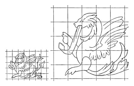 Enlargement of Image by Squares is the proportion method to resize the image, it is the drawing a grid of equal ratio on the work surface, vintage line drawing or engraving illustration.