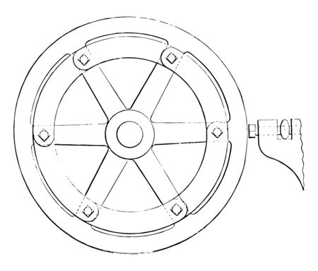 This illustration represents Turning Hand Wheels while moving threaded tool to the desired radius, vintage line drawing or engraving illustration. Çizim