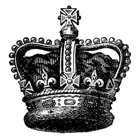 Imperial Crown used for the coronation of emperors vintage line drawing or engraving illustration.