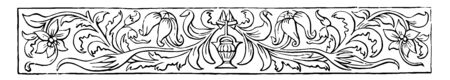 Banner have a floral design with a small unknown piece in the center vintage line drawing or engraving illustration.