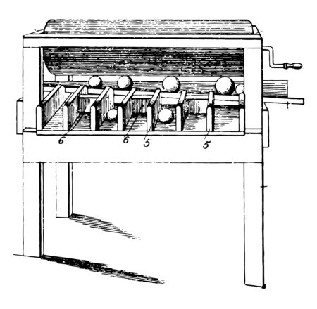 This illustration represents Orange Sizer which is used for sizing oranges, vintage line drawing or engraving illustration. Illustration