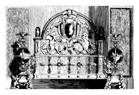 Fireplace is decorated with slabs of china animal figures interlaced pattern vintage line drawing or engraving illustration. Illustration