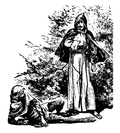 A man fell down on ground and another man with hood looking at him in anger vintage line drawing or engraving illustration