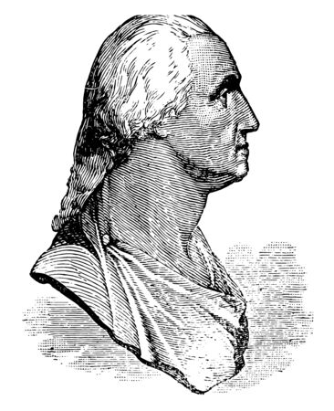 The Houdon Bust of George Washington vintage line drawing or engraving illustration.