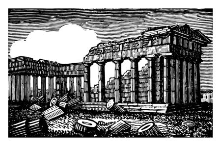 Temple of Minerva in Athens it is the famous places in Athens Roman name for Athena enjoys the reputation of being most perfect Doric temple vintage line drawing or engraving illustration. Illustration