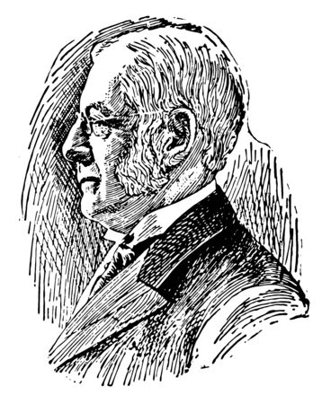 Charles William Eliot 1834 to 1926 he was an American educator and 21st president of Harvard University from 1869 to 1909 vintage line drawing or engraving illustration