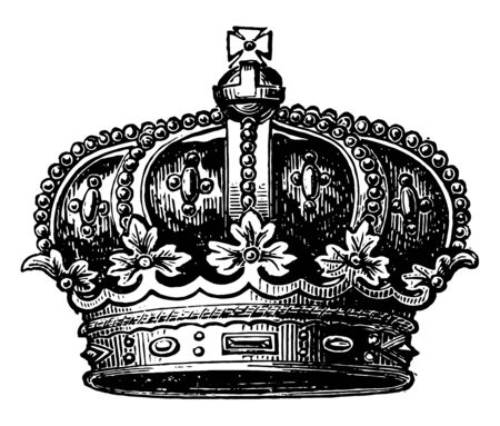 Coronet of the Late Prince Consort crown vintage line drawing or engraving illustration. Ilustrace